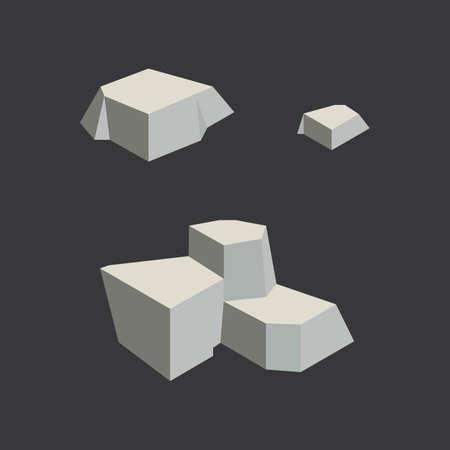둥근 돌: Isometric rocks 일러스트