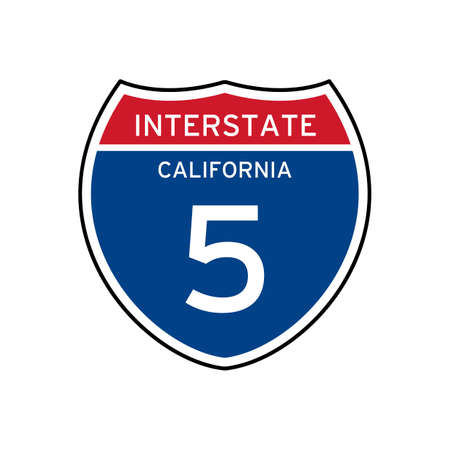 interstate: Interstate california 5 route sign Illustration