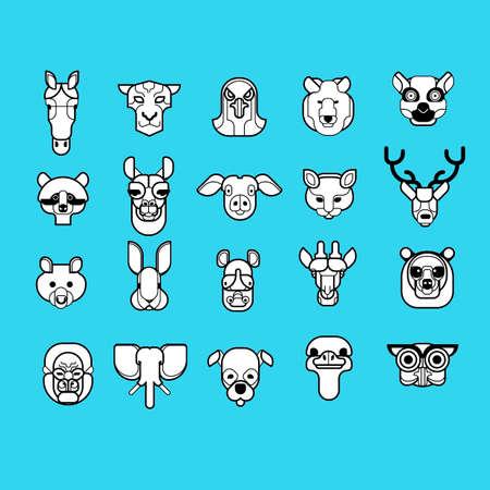 mounted: Set of animal mounted heads