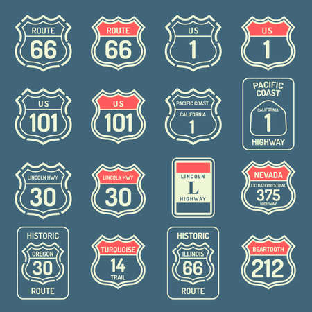 california coast: Collection of us route labels