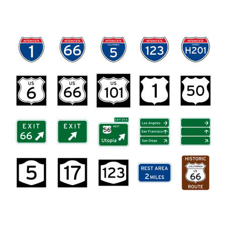 Collection of road signs Stock Illustratie
