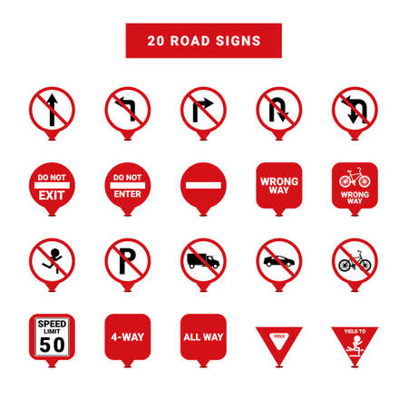 u turn: Road signs Illustration
