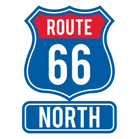 66: Route 66 north sign Illustration