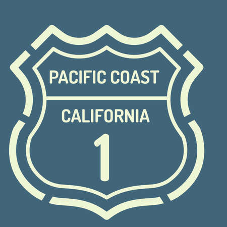 coast: California pacific coast route sign Illustration