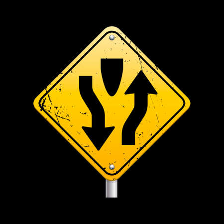 Divided highway road sign