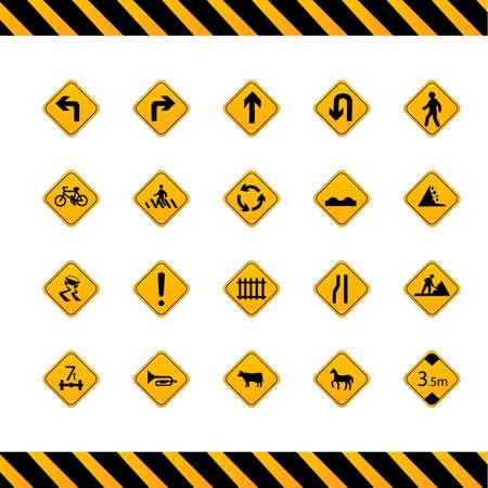 도로 표지판 수집 일러스트