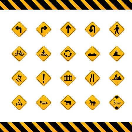 u turn: Collection of road signs Illustration