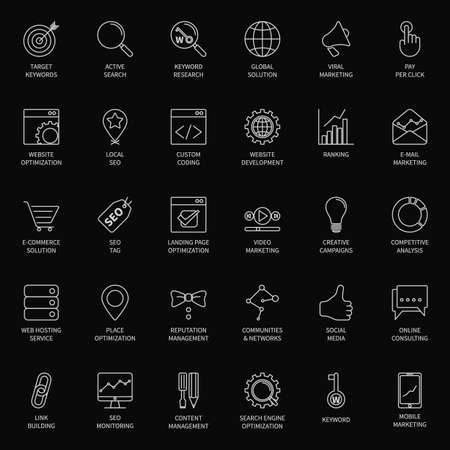 active content: SEO and development icon set Illustration