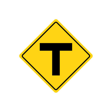intersection: T intersection warning sign Illustration