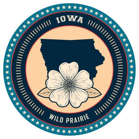 iowa: Iowa state label Illustration