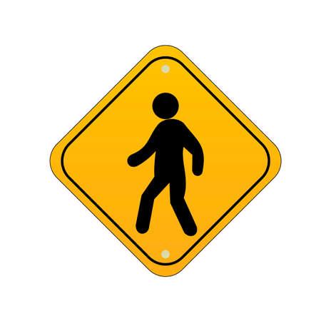 znak drogowy: Pedestrian crossing road sign Ilustracja