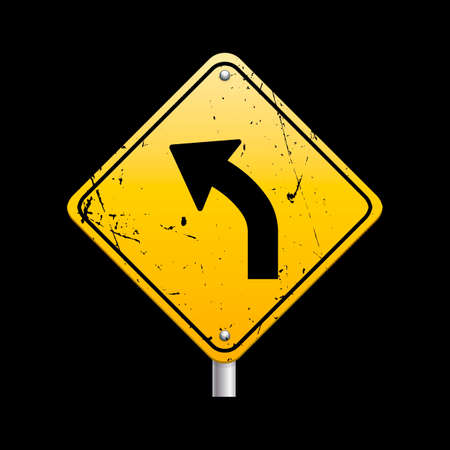 sharp curve: Sharp curve ahead sign Illustration