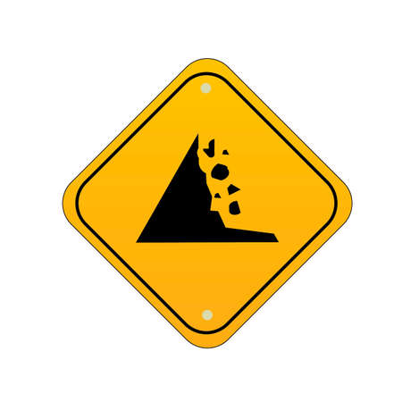 Falling rocks road sign