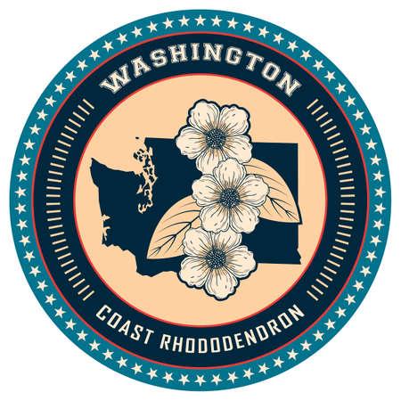 washington state: Washington state label Illustration