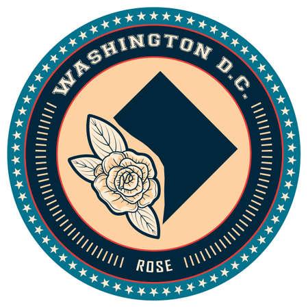 dc: Washington D.C state label Illustration