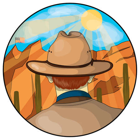 man back view: Cowboy Illustration