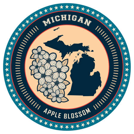 michigan: Michigan state label Illustration