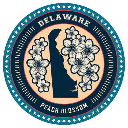 peach blossom: Delaware state label