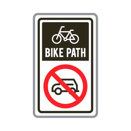 road bike: Bike path road sign Illustration