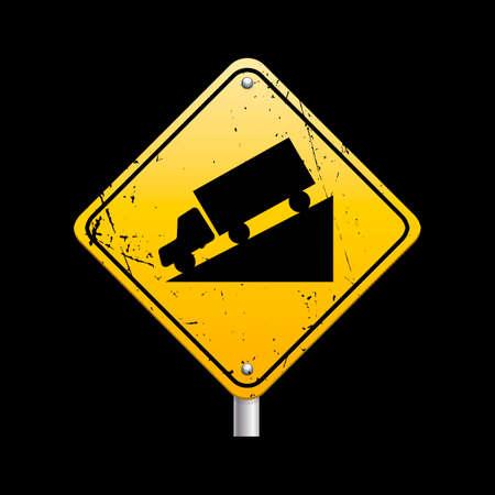 steep: Steep hill road sign Illustration