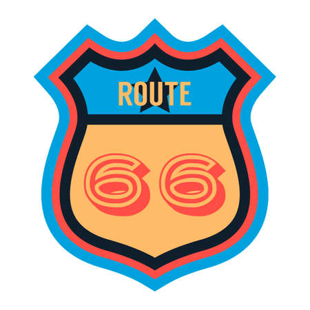 sixty six: Route 66 label Illustration