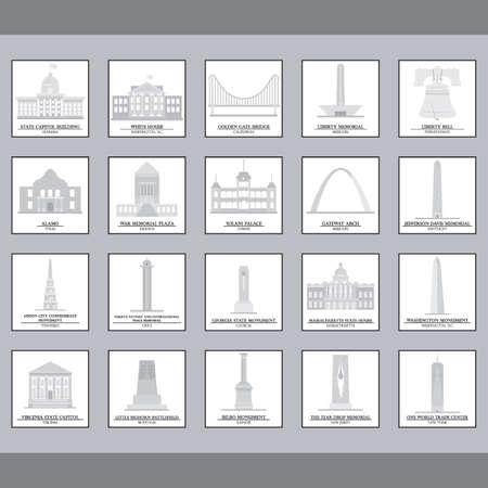 usa flags: Set of USA landmark icons