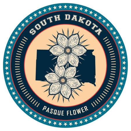 south dakota: South Dakota state label Illustration