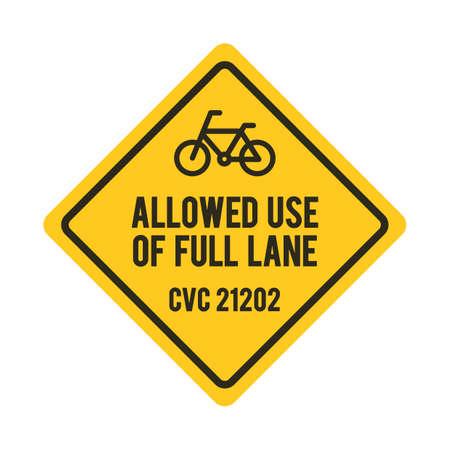 lane: Bicycles allowed use of full lane sign