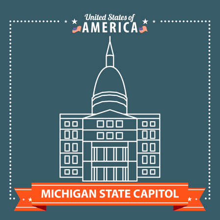 michigan: Michigan state capitol Illustration
