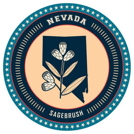 nevada: Nevada state label Illustration