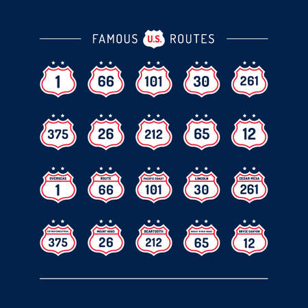 routes: Collection of famous routes Illustration
