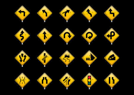 railroad crossing: Collection of road signs Illustration