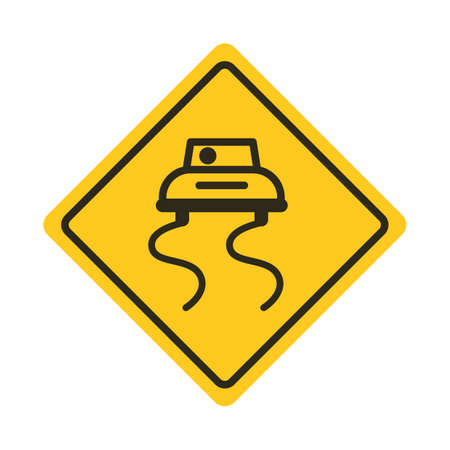 slippery: Slippery road sign