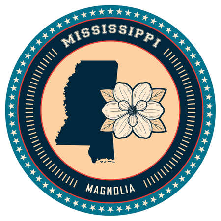 mississippi: Mississippi state label Illustration