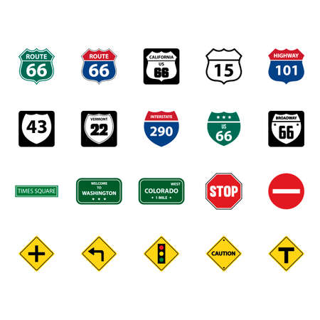 Collection of road signs Ilustração