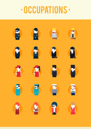 medical headwear: Collectionofpeopleandoccupations Illustration