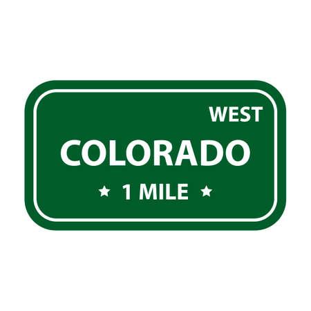 mile: West colorado 1 mile sign Illustration