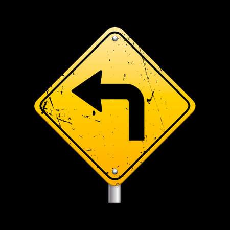 ahead: Sharp turn ahead sign Illustration