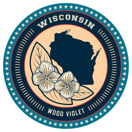 wisconsin: Wisconsin state label Illustration