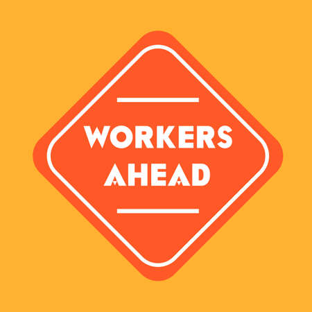 road works ahead: Workers ahead road sign Illustration
