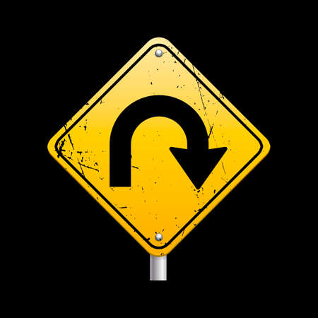u turn: U turn road sign Illustration