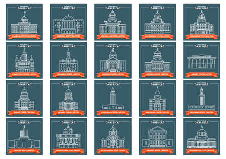 connecticut: Set of USA states capitol icons