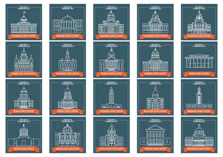 Set van USA States Capitol pictogrammen Stock Illustratie