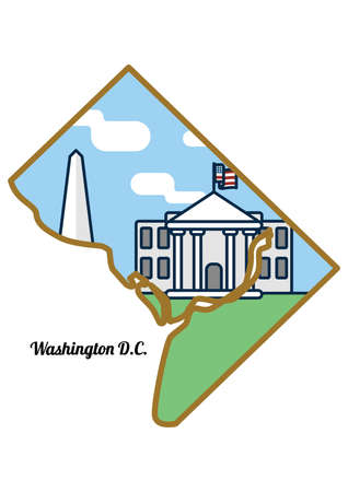 Washington dc state map Illustration