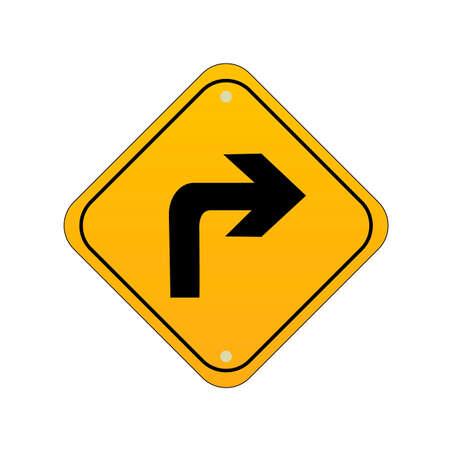 우회전 도로 표지판