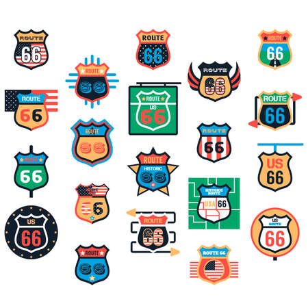 66: Collection of route 66 labels