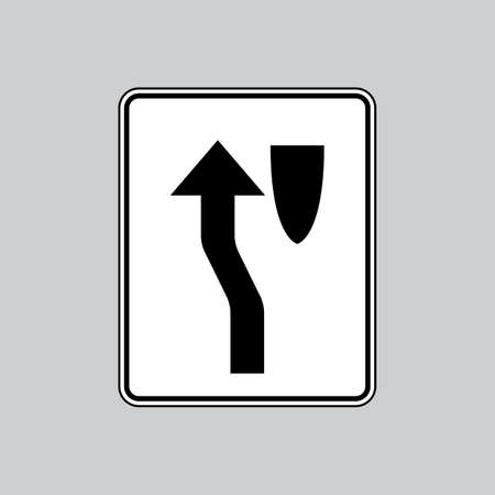 stay: Stay left island ahead sign Illustration