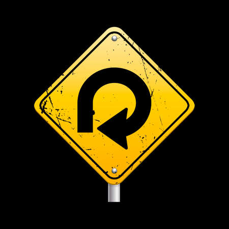 loop: 270 degree loop on right sign Illustration