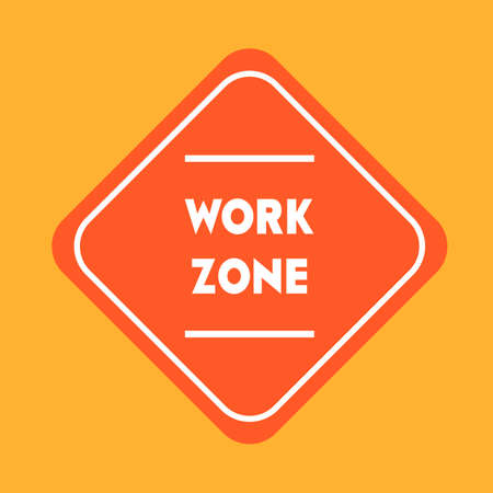 road works: Work zone road sign