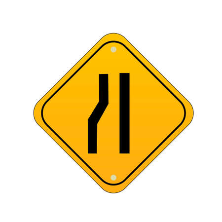 narrows: Road narrows from left sign Illustration